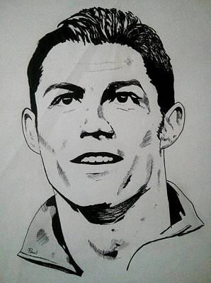 Cristiano Ronaldo Drawing - Portrait by Paul Augustine