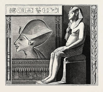 Portrait Statue And Relief Of The Fanatical King Amenophis Art Print