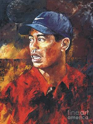 Painting - Portrait - Tiger Woods by Christiaan Bekker