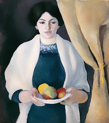 Shawl Painting - Portrait With Apples by Mountain Dreams