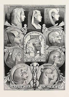 Portraits From Likenesses Of The Time Of The Pharaohs Art Print by Litz Collection