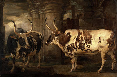 Component Painting - Portraits Of Two Extraordinary Oxen, The Property by Litz Collection