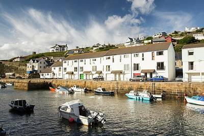Portreath Harbour And Village In Cornwall Art Print by Ashley Cooper