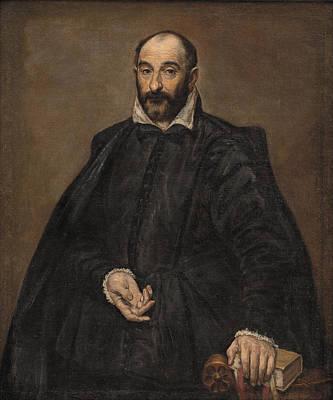 Digital Watercolor Painting - Portret Van Een Man by Celestial Images