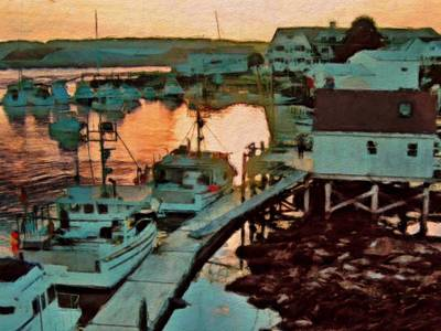 Painting - Portsmouth Harbor Boats At Sunset - Horizontal by Lyn Voytershark