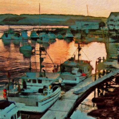Digital Art - Portsmouth Harbor Boats At Sunset - Square by Lyn Voytershark