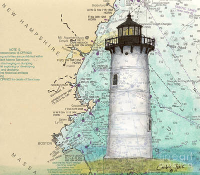 New England Lighthouse Painting - Portsmouth Harbor Lighthouse Nh Nautical Chart Map Art by Cathy Peek
