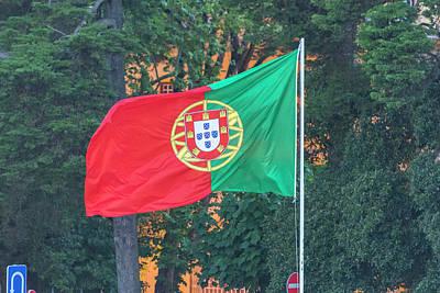 Flagpole Photograph - Portugal, Cascais, Portuguese Flag by Jim Engelbrecht