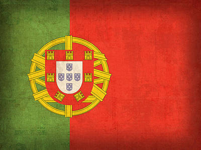 Flag Mixed Media - Portugal Flag Vintage Distressed Finish by Design Turnpike