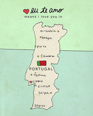 Maps Painting - Portugal by Lisa Barbero