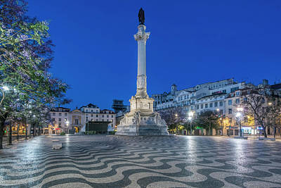 Portugal, Lisbon, Rossio Square At Dawn Art Print by Rob Tilley