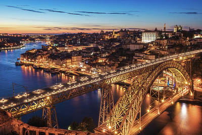 Wrought Iron Wall Art - Photograph - Portugal - Porto Blue Hour by Jean Claude Castor
