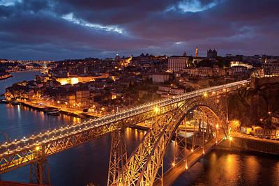 Luis Photograph - Portugal, Porto Dom Luis I Bridge Lit by Jaynes Gallery