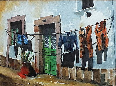 Painting - Portugal  Washing Line In Sta Bras. by Val Byrne