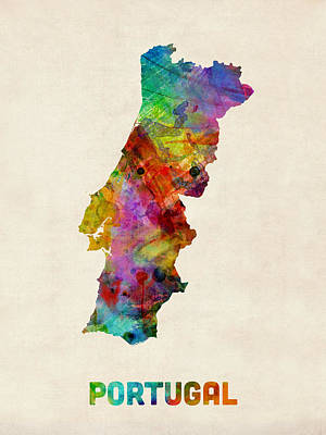Portugal Digital Art - Portugal Watercolor Map by Michael Tompsett