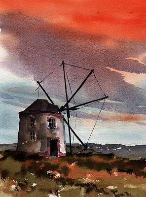 Painting - Portugal  Windmill Red Sky by Val Byrne