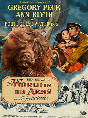 Painting - Portuguese Water Dog Art Canvas Print - The World In His Arms Movie Poster by Sandra Sij