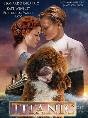 Painting - Portuguese Water Dog Art Canvas Print - Titanic Movie Poster by Sandra Sij