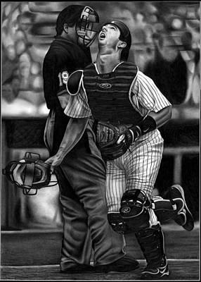 Professional Baseball Teams Drawing - Posada by Jerry Winick