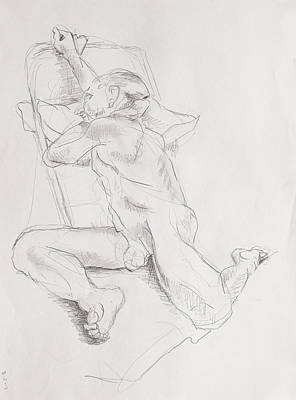 Hip Drawing - Posed Erich by Andy Gordon