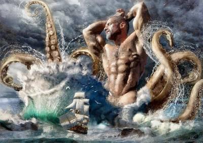 Bombelkie Digital Art - Poseidon Awakens by Marcin and Dawid Witukiewicz
