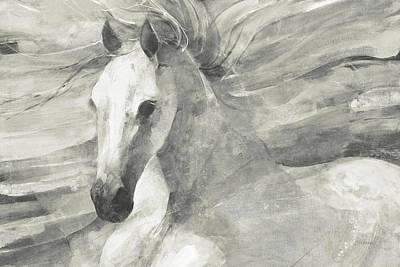 Grey Horse Painting - Poseidon Neutral Crop by Albena Hristova