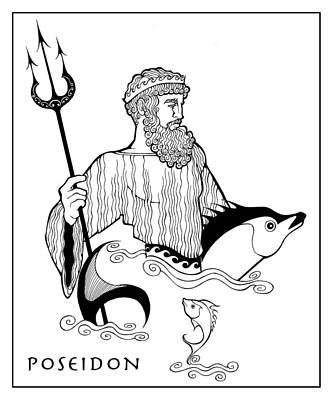 Drawing - Poseidon by Steven Stines