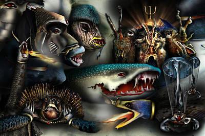Cuttlefish Digital Art - Poseidon's Warriors  The Final Stand by Dray Van Beeck