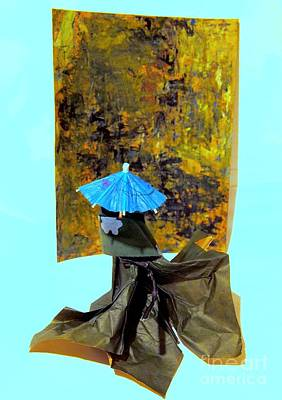 Gown Mixed Media - Posing With Art by Nancy Kane Chapman