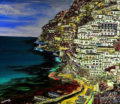 Summer Painting - Positano At Night by Loredana Messina