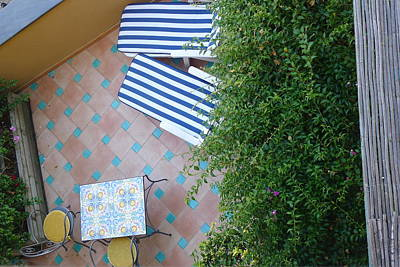 Art Print featuring the photograph Positano - Balcony View - Lounge Chairs by Nora Boghossian