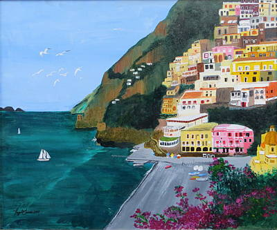 Painting - Positano Italy by Artistic Indian Nurse