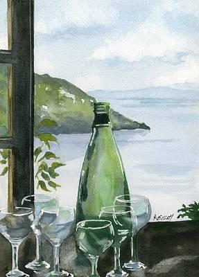 Wine Bottle Painting - Positano by Marsha Elliott