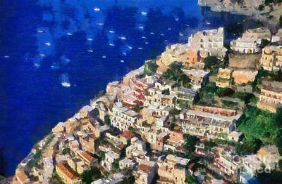 Painting - Positano Town In Italy by George Atsametakis