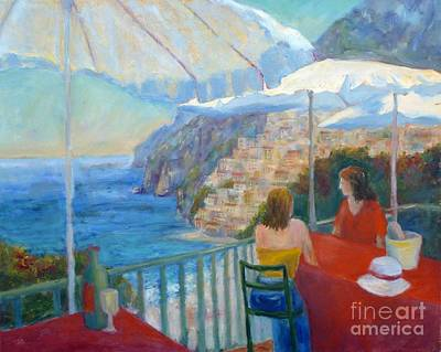 Italian Wine Painting - Positano View by Carolyn Jarvis