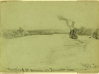 Tennessee River Drawing - Position Of Ft. Henry On Tennessee River by Quint Lox