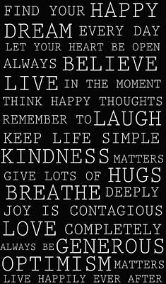 Positive Words Art Print by P S