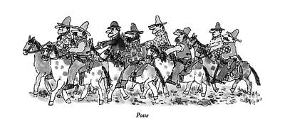 Native Drawing - Posse by William Steig
