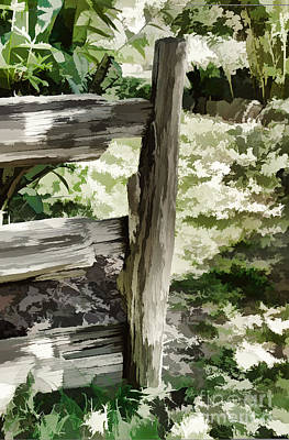 Digital Art - Post And Rail Garden Fence by Fran Woods