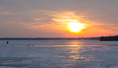 Photograph - Post Duck Dinner Sunset On The Frozen Potomac by Jeff at JSJ Photography