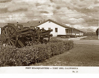 Photograph - Post Headquaters Fort Ord Army Base Monterey Calif 1950 by California Views Archives Mr Pat Hathaway Archives
