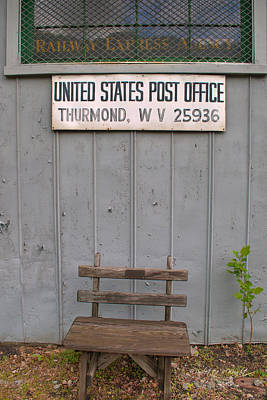 Thurmond Wall Art - Photograph - Post Office Bench by Paulette B Wright