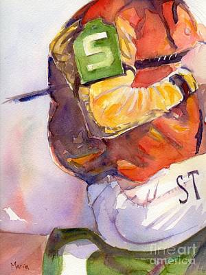 Kentucky Derby Painting - Jockey Painting In Watercolor Post Parade by Maria's Watercolor