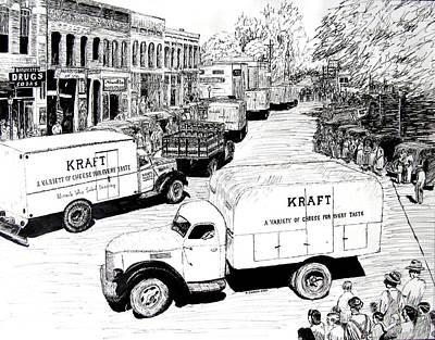 Arkansas Drawing - Post War Parade Bentonville Arkansas by Ron Enderland