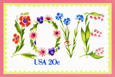 Postage Stamp Love Art Print by Carol Leigh