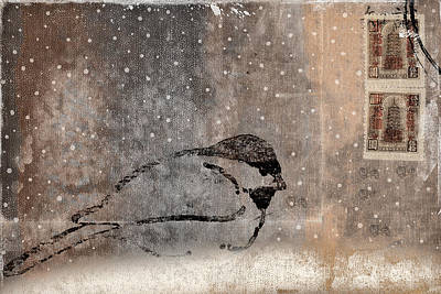 Postcard Chickadee In The Snow Art Print