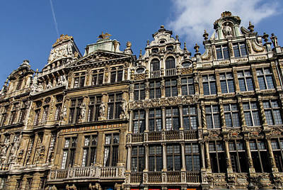 Abstract Male Faces - Postcard from Brussels - Grand Place Elegant Facades by Georgia Mizuleva