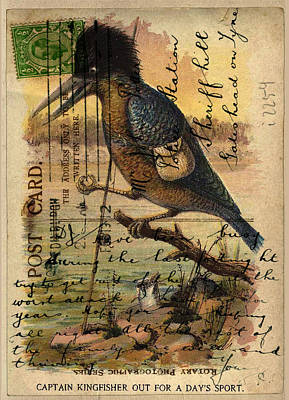 Kingfisher Digital Art - Postcard Kingfisher by Sarah Vernon