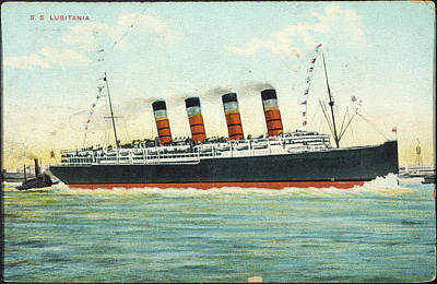 Drawing - Postcard Lusitania, 1915 by Granger