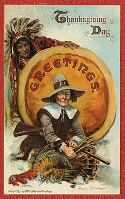 Painting - Postcard Of Pilgrim Plucking A Turkey by American School